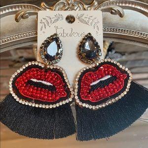 Rhinestone Lip Statement Earrings